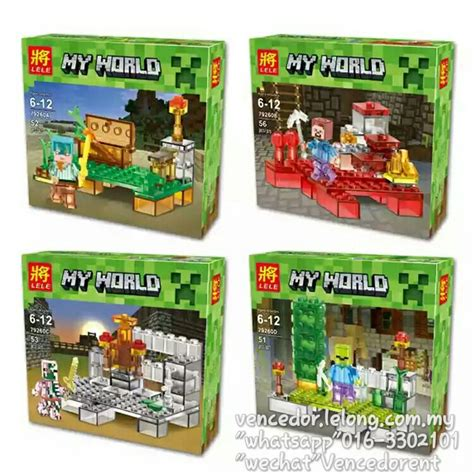 Paket 4pcs jual lego lele 79260 minecraft transparan paket 4pcs hipoo toys bsd