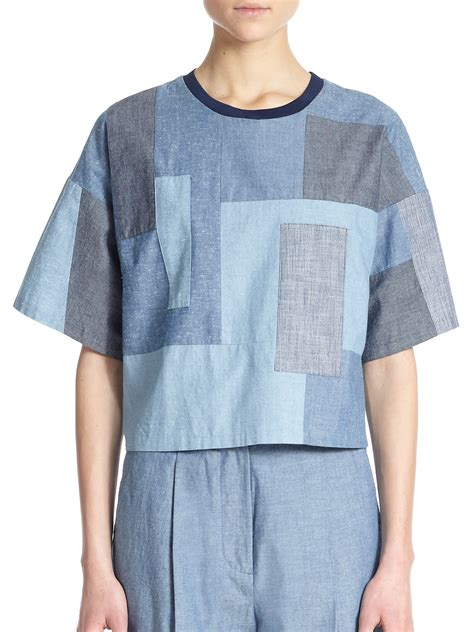 Patchwork Top - lyst 3 1 phillip lim boxy cotton chambray patchwork top