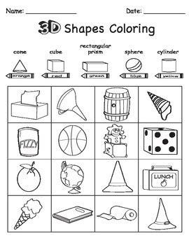 3D Shape Sort Color Draw by Chikabee   Teachers Pay Teachers