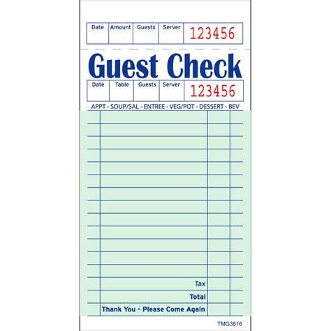guest receipt template guest check book marine foods express