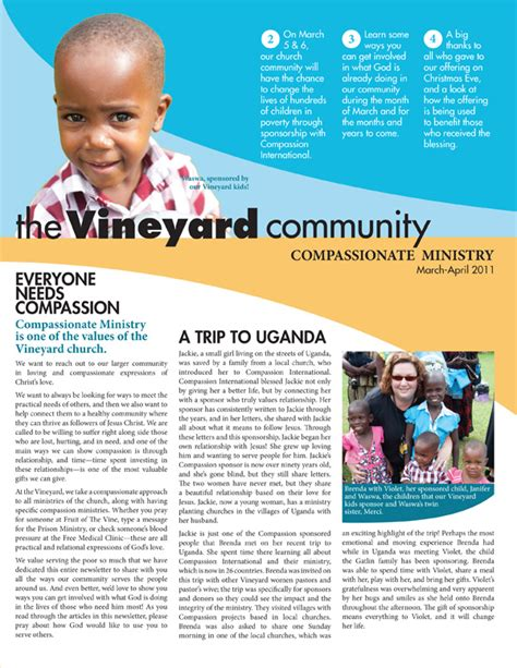 newsletter content layout the vineyard community breelee design