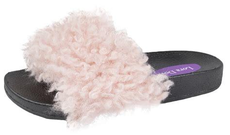 fluffy flip flop slippers fur sliders fluffy mules slippers flip flops