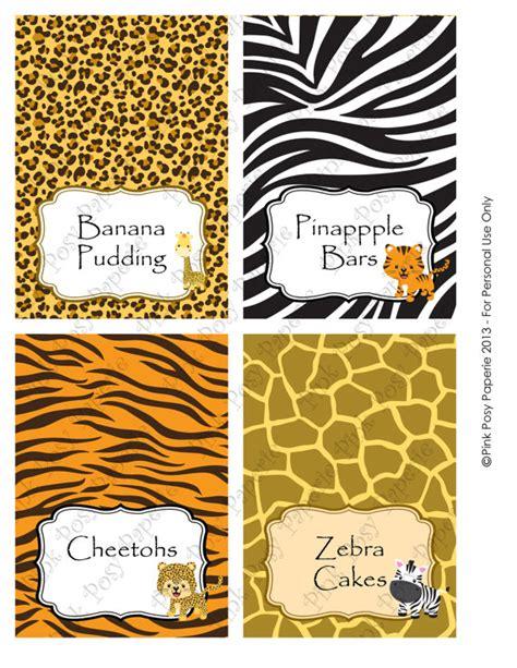 printable jungle labels printable safari baby shower food tent cards