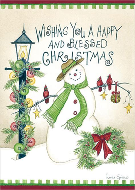 happy  blessed christmas linda spivey snowman christmas card  lpg