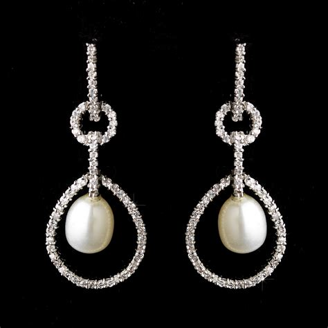 Strass Ohrringe Hochzeit by Pearl Rhinestone Bridal Earrings