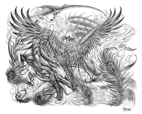 dragon and phoenix tattoo by loren86 on deviantart