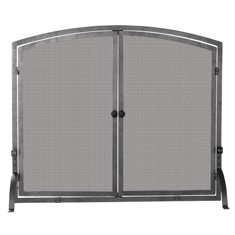 uniflame olde world iron single panel fireplace screen