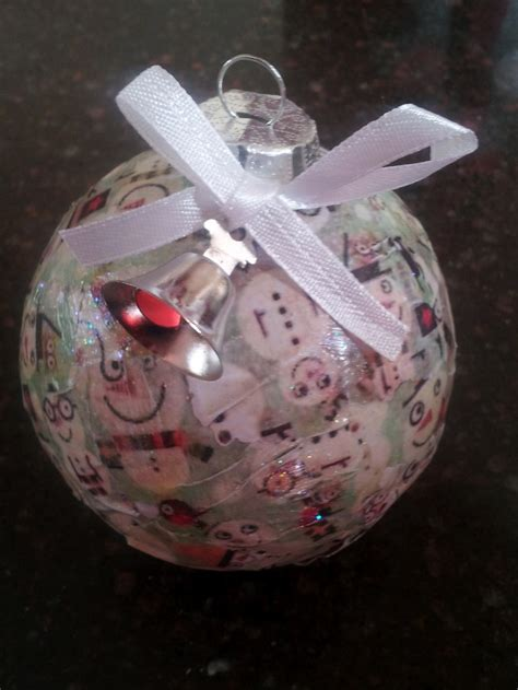 Decoupage Ornament - decoupaged glass ornament made with vintage