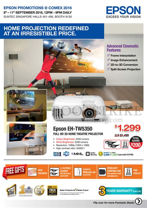 Projector L Price List by Epson Home Theatre Projector Eh Tw5350 Free Gifts Comex