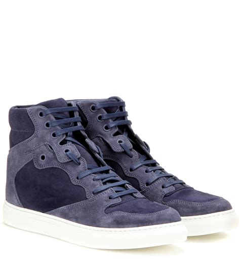 blue suede balenciaga sneakers lyst balenciaga suede high top sneakers in blue