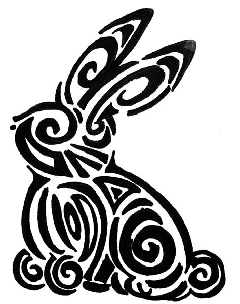 rabbit tribal tattoo designs conejo tribal by sunflowerracoon on deviantart