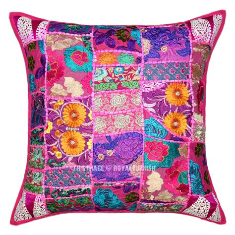 Patchwork Pillow - 24x24 quot pink boho patchwork decorative accent throw