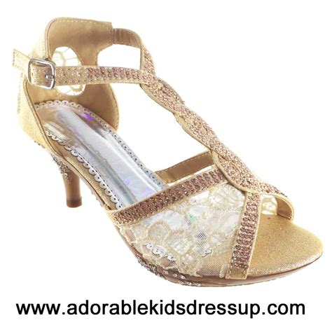 adorable kids dress up kids high heels shoes girls tea light gold girls high heel shoes fancy t strap pageant