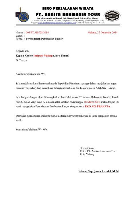 surat rekomendasi pembuatan paspor pt annisa rahmania tour