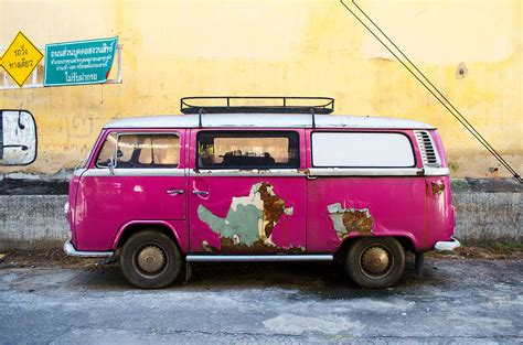 pink volkswagen van destination chiang mai two sided travels