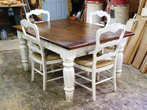 White Farmhouse Kitchen Table And Chairs Cherry Wood W White Scrubbed Base And Matching Chairs