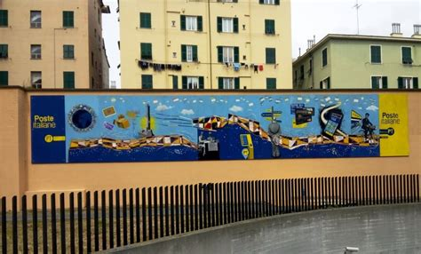 ufficio postale genova presentato il murales dell ufficio postale di piazza