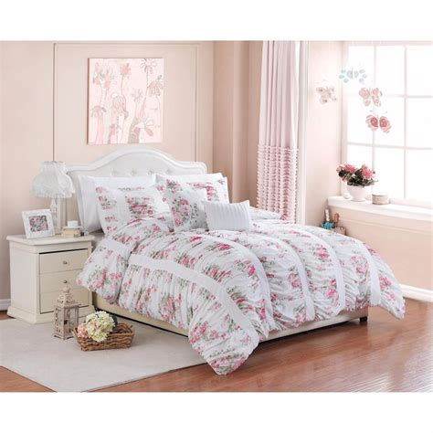 5 piece floral print rose ruffle ruching vintage bedding