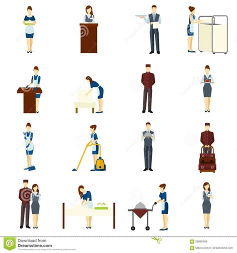 Vacation Cabin Plans hotel staff set stock vector image 59880406