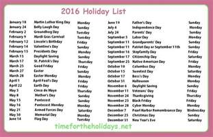 Calendar For 2016 With Holidays 2016 Calendar Time For The Holidays
