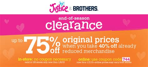 justice coupons 40 off printable 2012 justice end of season clearance up to 75 off southern