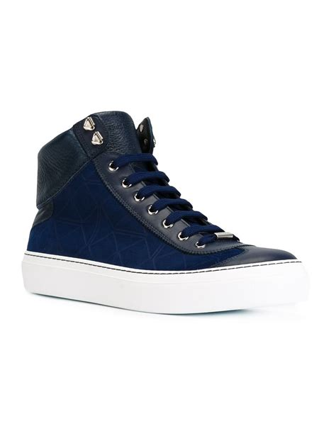 best sneakers jimmy choo argyle high top sneakers in blue for lyst