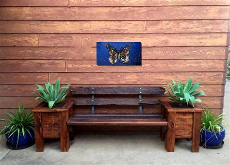 planter seat bench front door pallet planter box