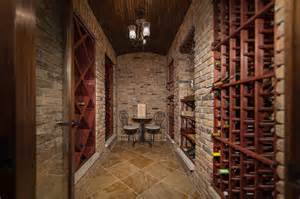 Glass Bistro Table Reclaimed Red Brick Basement Wine Cellar Traditional