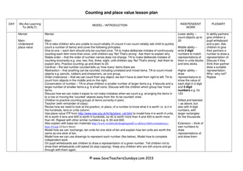 A Place Lesson Plan Place Value Ks1 Worksheets Lesson Plans And Activities By Saveteacherssundays Teaching