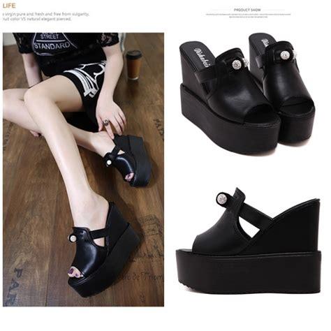 Wedges Import jual shw1133 black sepatu wedges import 13cm grosirimpor