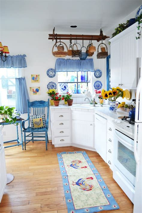 white blue kitchen my painted garden painting roosters to match my blue and