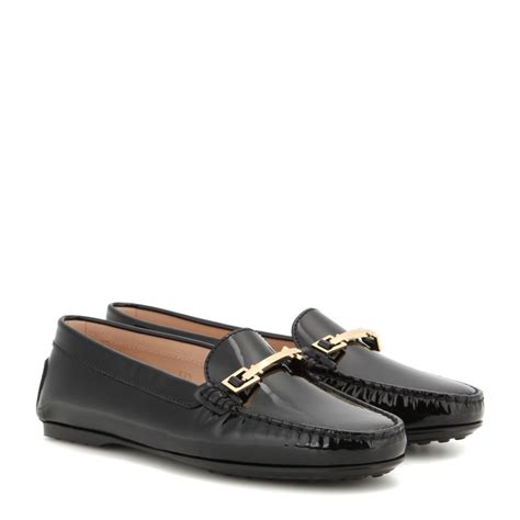 Patent Leather by Lyst Tod S Gomma Patent Leather Loafers In Black