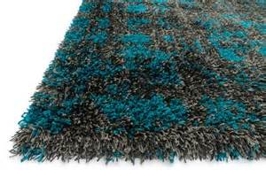Fluffy Rugs Charcoal Teal Shag Chevron Barcelona