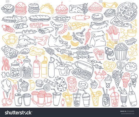 fast food doodle vector fast food doodle set various take immagine vettoriale