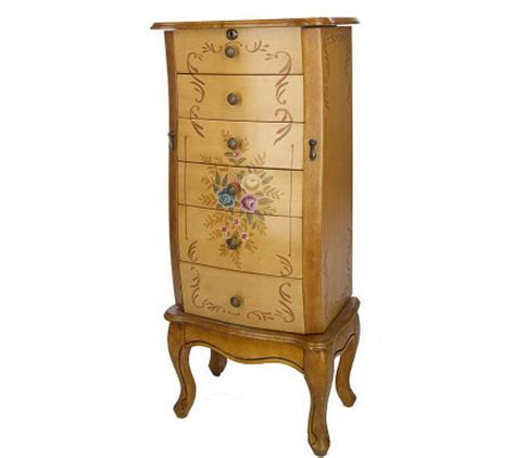 prezerve anti tarnish handpainted locking jewelry armoire