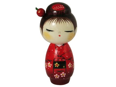 Kitchen Canisters Red Lovely Red Cherry Blossom Kimono Traditional Japanese Doll