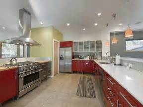 Beautiful Kitchen Design Idea Feat Red Accents Vanity Storage Design Using Stainless