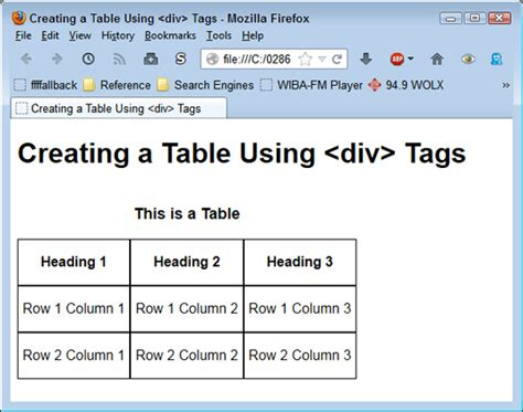 Table Tag Html by Using The Div Tag To Create Tables Dummies