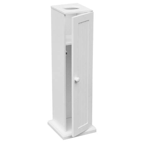 White Wooden Bathroom Toilet Paper Roll Holder Floor Bathroom Toilet Paper Storage