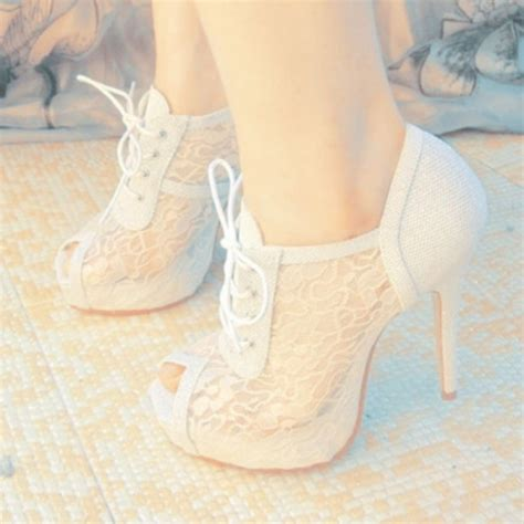white lace high heels shoes heels white lace pumps wheretoget