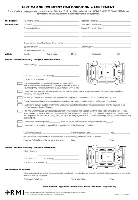 pmm0016 hire car condition amp agreement form pad rmi