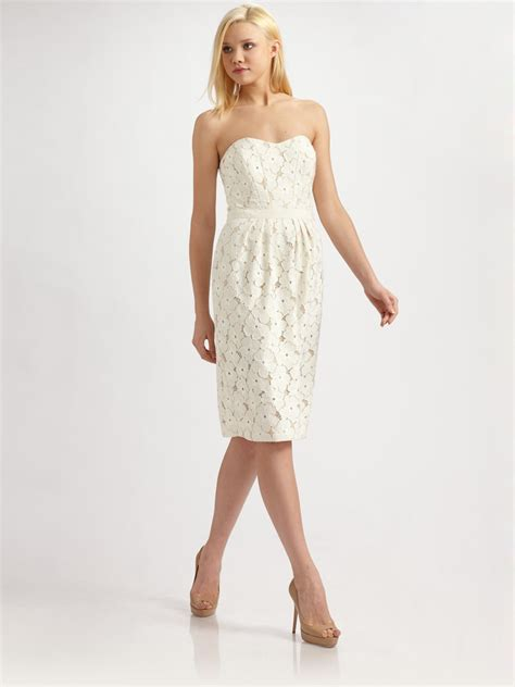 Dress Twena lyst lafayette 148 new york floral lace dress in white