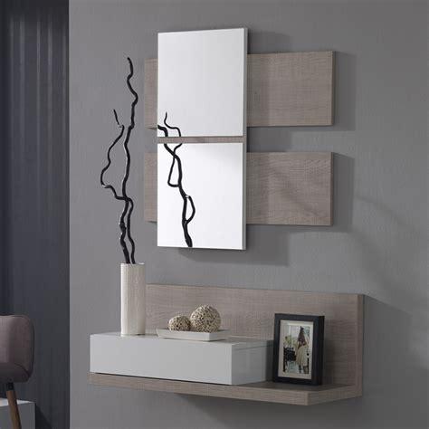 Meuble d'entre avec miroir blanc et bois avec tiroir