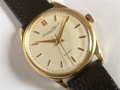 iwc cal 852 automatic 18k 1953 34mm vintage gold watches