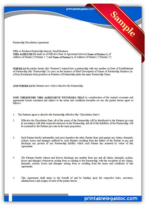 partnership dissolution agreement template free printable partnership dissolution agreement form