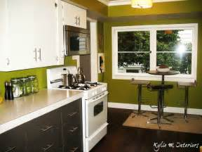 Gray charcoal with green walls in kitchen and dark stained wood floors