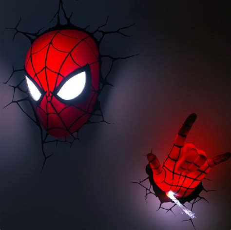 Avengers series 2015 creative spider man a set novelty 3d wall lamps bedroom toy cool night