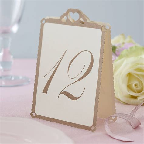 wedding table number cards wedding table numbers ivory gold wedding tables