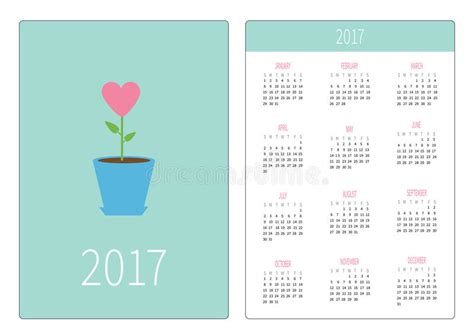 Flower Pot Pocket Card Template by Pocket Calendar 2017 Year Week Starts Sunday Flat Design