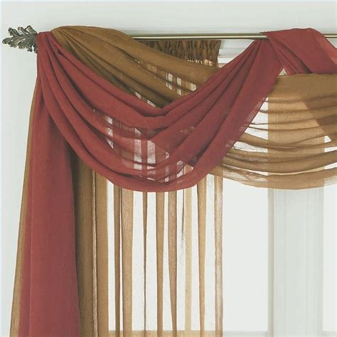 how to hang sheer scarf curtains sheer window scarf valance window treatments design ideas